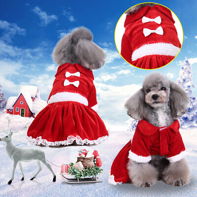 ✅Pet Puppy Cat Dog Christmas Outfit Costumes Bow-knot Hoodie Dress Xmas Clothes