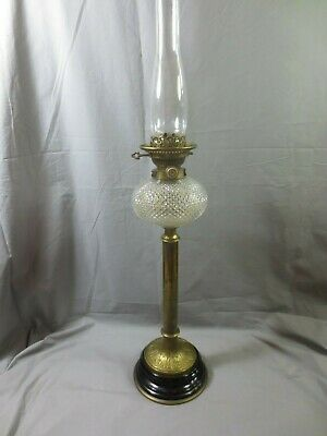 Rare Antique Victorian Hinks Brass And Glass Duplex Oil Lamp With Chimney
