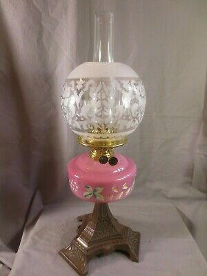 Antique Victorian Wright & Butler Cast Iron, Brass And Cranberry Glass Oil Lamp