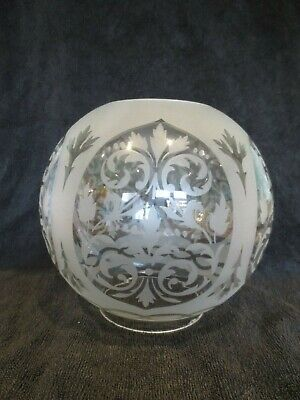 Old Original Antique   Etched  Round Ball Duplex Oil Lamp Shade