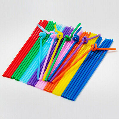 100 Pcs Plastic Straws Flexible Neck Straws Banquet Birthday Party Drink Straws