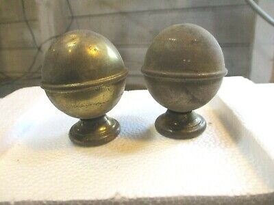 "Antique Brass Curtain Rod Finials ~ Adapt for Bed, 1.75"" Diameter, 3/4""L Screw"