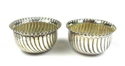 Antique Solid Silver Pair of English Victorian Salt Cauldrons by Mappin Brothers