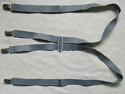 Braces Suspenders Mens Vintage CLIP ON 1970s 1980s GREY