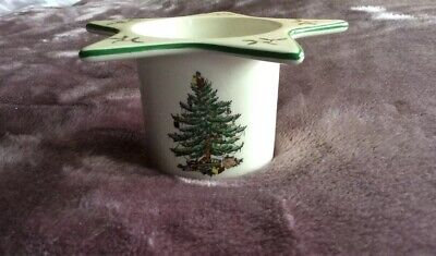 Spode Christmas Tree Star Shaped Candle Tea Light Holder - Excellent Condition