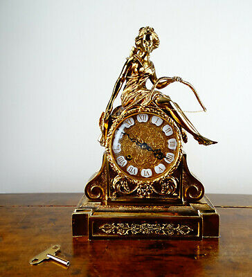 Antique Style Rococo Louis XVI Brass Figural Mantel Clock by Franz Hermle