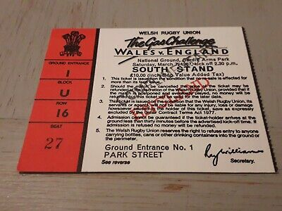 1987-Wales V England-Five Nations-Rugby Union Match Ticket