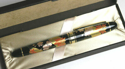 Japanese Makie Lacquer Fountain Pen Classic Design Cherry Blossoms Nib/M 138mm