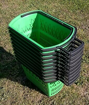 10 GREEN PLASTIC SHOPPING TROLLEY BASKET - PULL ALONG or CARRY TYPE