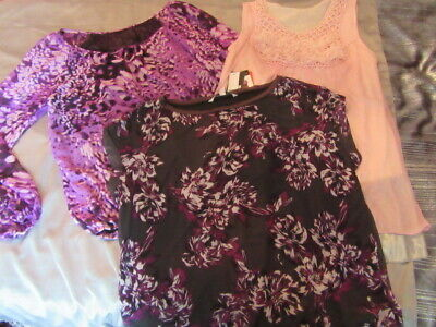 Brand New/Used Bundle Of 3 Tops 2 Purple And 1 Pink Top Size 12/14 See Details