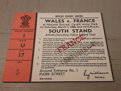 1986-Wales V France Five Nations Champions International Rugby Union Ticket