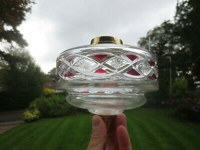 Superb  Antique Victorian Rare Cut Glass Cranberry  Duplex Oil Lamp Fount Font