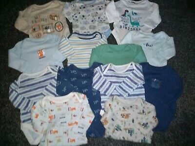 Baby Boys 0-3 month Bundle of 13 long sleeved vests very good condition