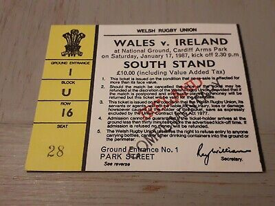 1987 Wales V Ireland Five Nations Rugby Union Match Ticket Excellent Condition