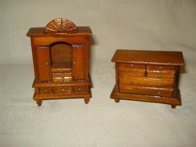 2 Miniature Furniture Doll House Vintage Wooden Chest of Drawers Wardrobe Toys