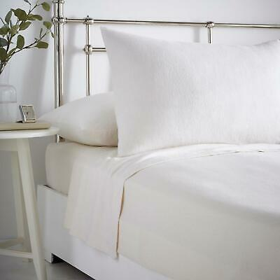 Cream Flannelette Sheets 100% Brushed Cotton Bedding Fitted Flat Pillowcases