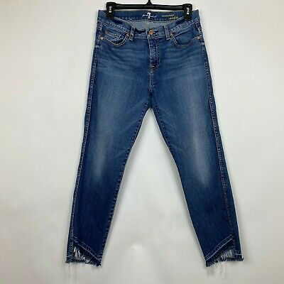 7 For All Mankind Womens Size 29 Jeans Roxanne Ankle Distressed Frayed Hem High