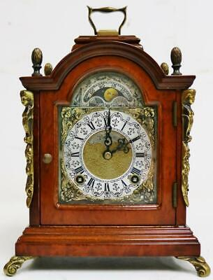 Vintage English Burr Walnut & Bronze London Musical Chime TingTang Bracket Clock