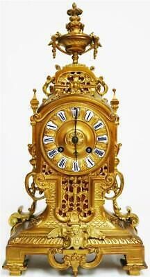 Beautiful Quality Antique French 8 Day Pierced Bronze Ormolu Mantle Clock
