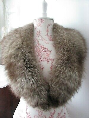 LARGE VINTAGE 1930s/40s NATURAL SMOKE GREY REAL FOX FUR SATIN LINED COLLAR/STOLE