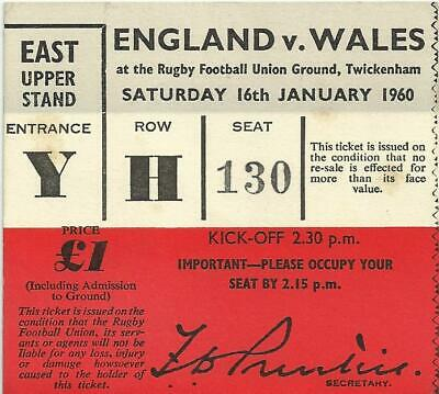 Rugby Union Ticket R.f.u England V Wales Twickenham 1960