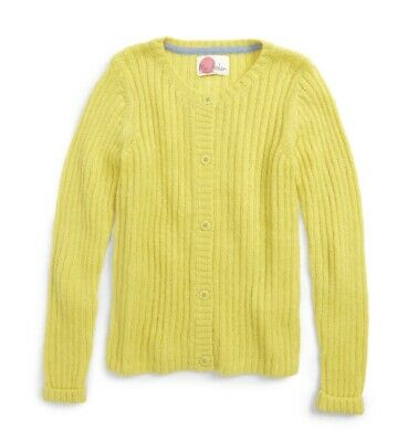 MINI BODEN Yellow Mohair Everyday Cableknit Cardigan Sweater Girl's Size 13-14