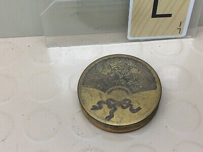 Vintage Etched Brass Cosmetic Compact Round