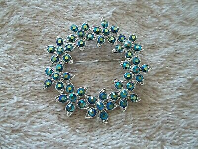 Flower, Circle Shape Pin, Silver Tone Metal With Blue/Green Crystals