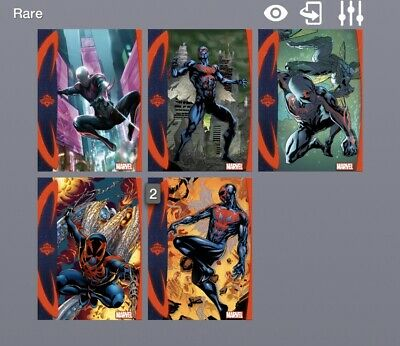 Marvel Collect Spider-Man 2099 Topps Showcase Lot Of 6 With Dupes Digital Cards