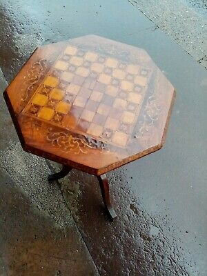 Antique Victorian Inlaid Mahogany Walnut Sewing Box Chess Side Table.