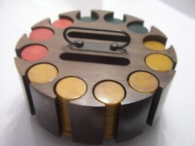 vintage bakelite catalin poker chips wood caddy 291 chips