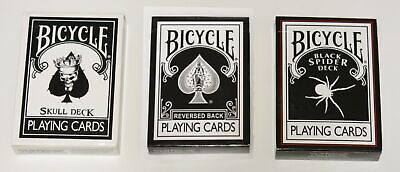 Bicycle Ultimate Black Magic Deck Combo, Skull, Spider, Reverse Black 2nd Gen