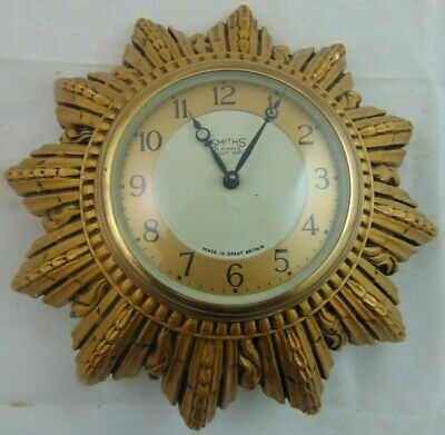 Smiths 4 Jewel Night Day Bronze Plaster Wall Clock