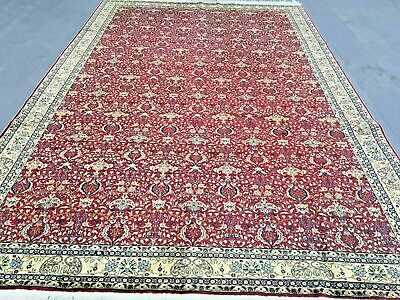 Oversized Ottoman Rug Red Floral Hand Woven Vintage Never Used Fine Tight Weave