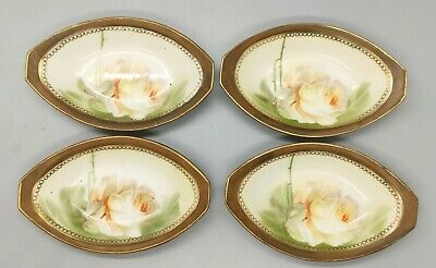 Antique MW Co Hand Painted RS Germany White Flower Gold Gilt Butter Pat Dishes 3