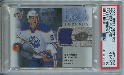 Connor McDavid 2015 16 UD Ice fresh threads Oilers RC rookie Jersey PSA 10