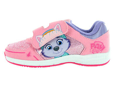 Girls  Paw Patrol Everest Pink Hook & Loop Canvas Trainers Shoes Sizes 5-10
