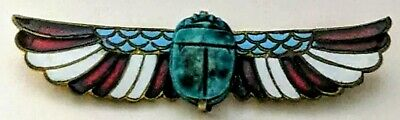 Stunning Art Deco Egyptian Revival Enamelled Winged Turquoise Scarab Brooch Pin