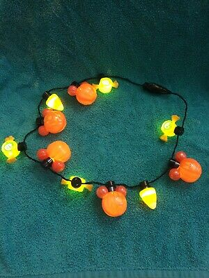 Disney Parks Halloween Mickey Mouse Glow Pumpkin Light Up Necklace Candy NWOT