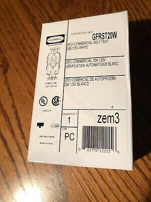 GFRST20W HUBBELL GFCI Commercial Self Test 20A 125V White NEW  Free shipping