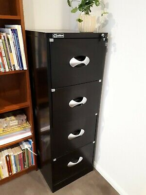 Filing cabinet, black, 4 drawer with key. Immaculate condition - as new
