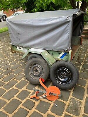 Trailer with Canopy includes wheel lock two spare tyres great for camping