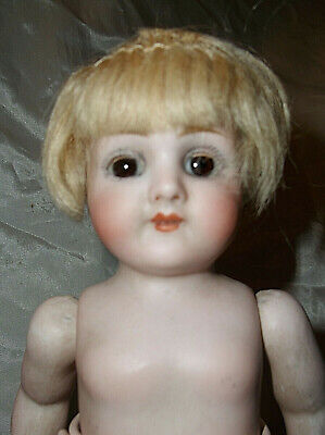 "Sweet Darling Antique 1908 All Bisque 8"" German Dollhouse Doll #329"