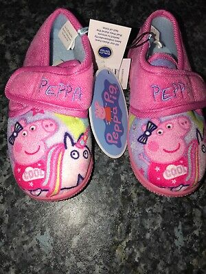 Girls Nick Jr Peppa Pig Slippers Rose Pink Childrens Toddler Sizes 8 & 9