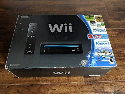 Nintendo Wii Black Console System w Wii Sports & Sports Resort Complete in Box!
