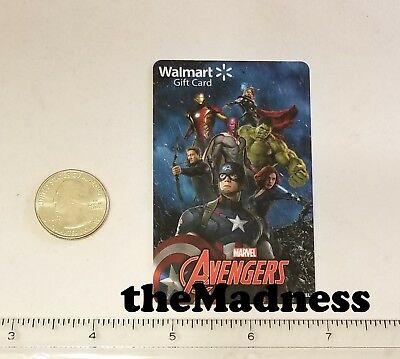New Unused Walmart Avengers Gift Card No Value Thor Iron Man Hulk Widow Vision