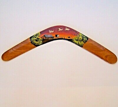 GENUINE 48cm AUSTRALIAN ABORIGINAL HAND-PAINTED RETURNING WOODEN BOOMERANG ART