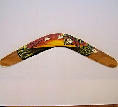 GENUINE 47cm AUSTRALIAN ABORIGINAL HAND-PAINTED RETURNING WOODEN BOOMERANG ART