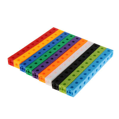 100x Early Education Present Interlocking Maths Link Cubes Learning 10-Color