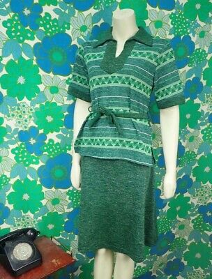 B81 Vintage Suit Smock Skirt 2 Piece 1970's Green Size 10